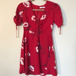 XS Red dress with white flowers by Mango